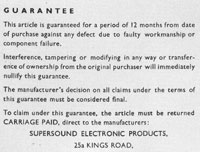 Supersound Guarantee Card 2